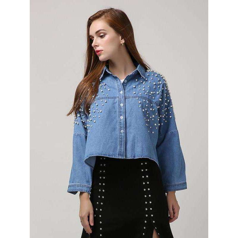 CLOCHE Denim Crop Pearl Shirt Top-CLOCHE-ONE-CLOCHE