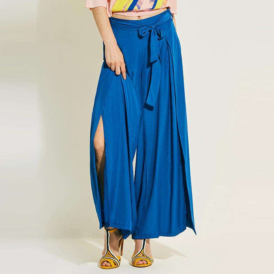 CLOCHE Loose Wide Legs Lace-Up High-Waist Pants-CLOCHE-Blue-S-CLOCHE