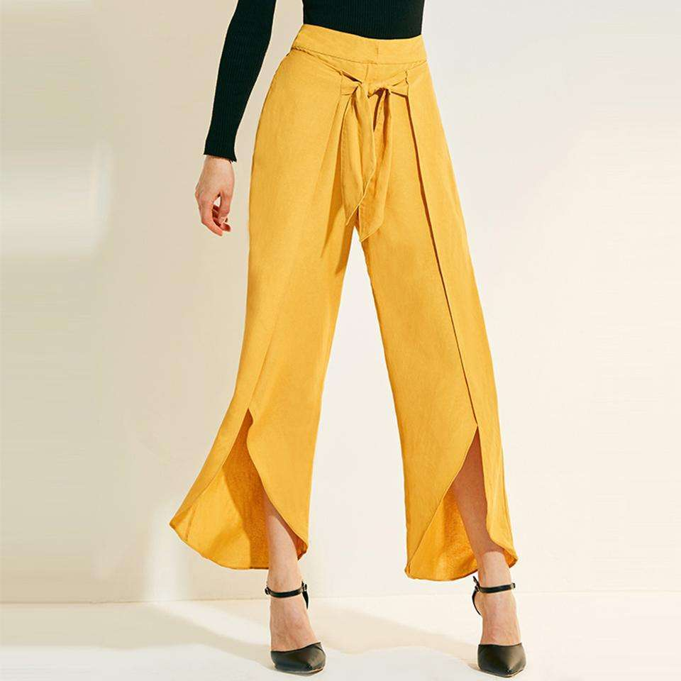CLOCHE Loose Wide Ruffle Full Leg Long Vacation Pants-CLOCHE-CLOCHE