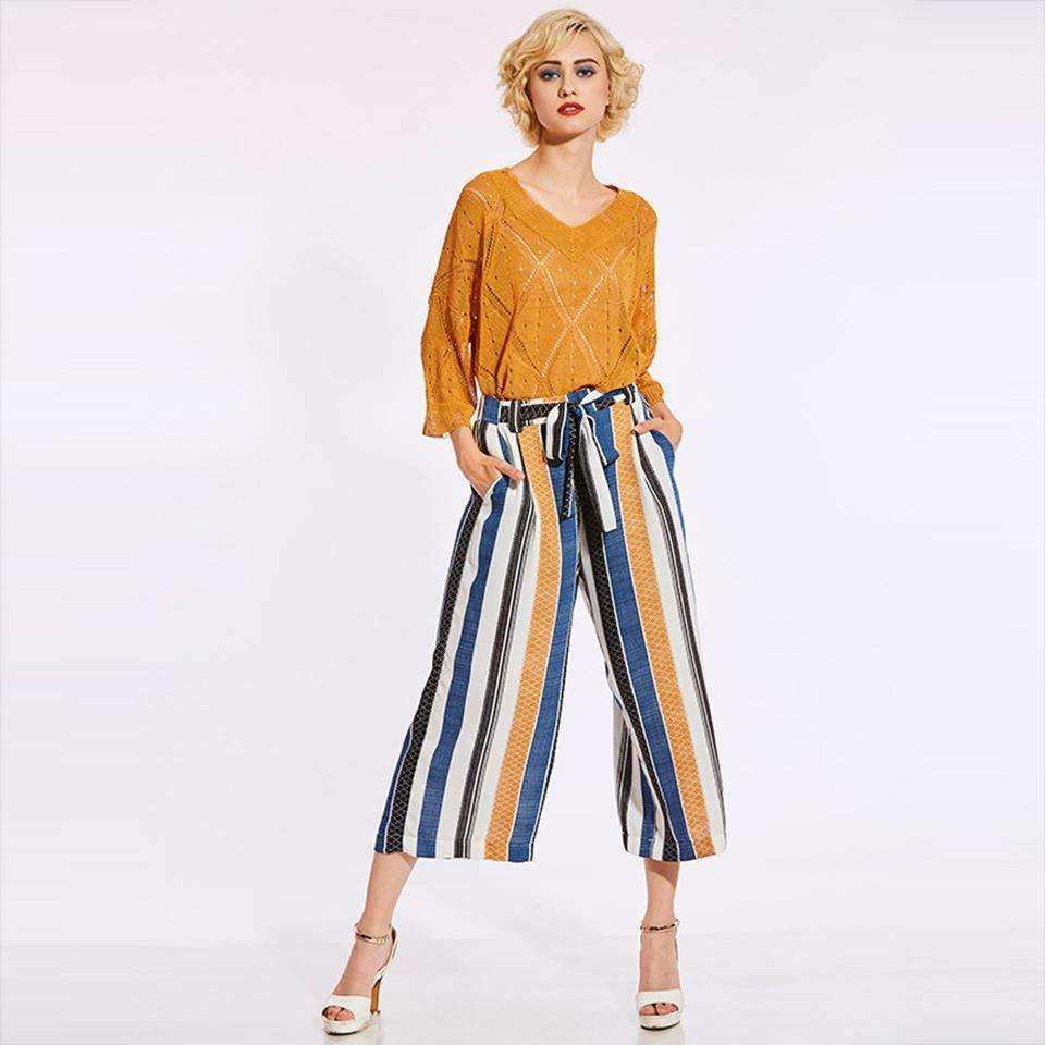 CLOCHE Loose Wide Legs Lace-Up Striped Color Block Pleated Pants-CLOCHE-CLOCHE