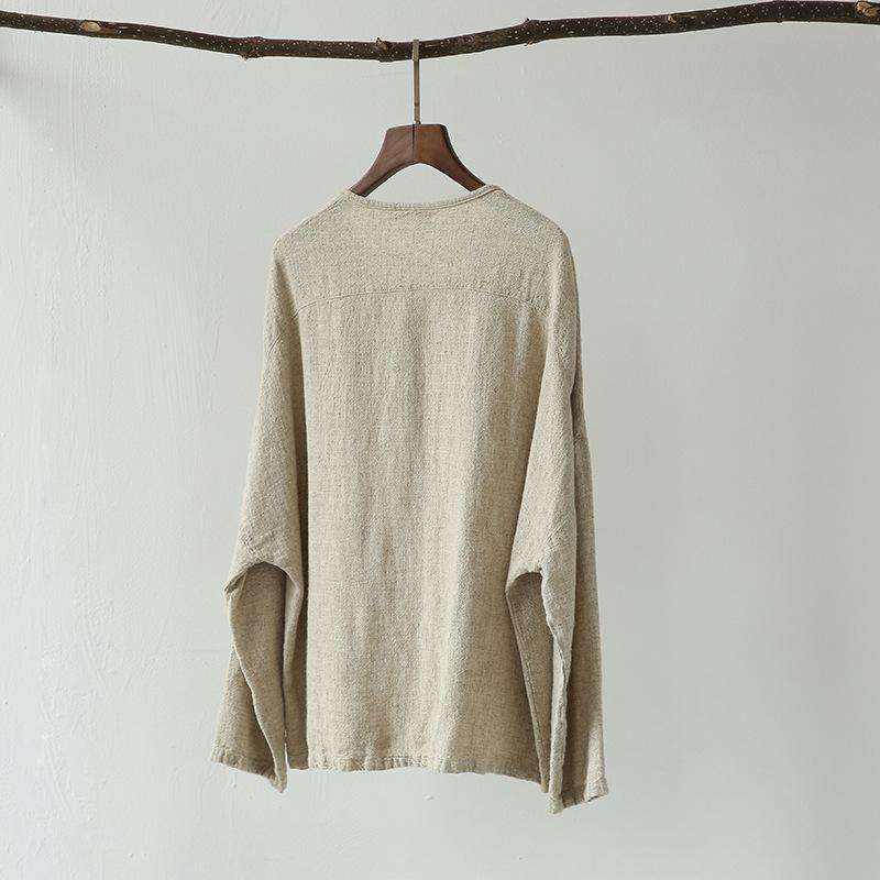 CLOCHE Linen Long Sleeve Button Pockets O-Neck Jacket-CLOCHE-ONE-CLOCHE