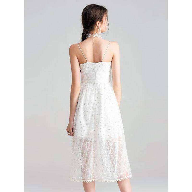 CLOCHE Mellifluous Lace Spaghetti Sequin Dress-CLOCHE-CLOCHE