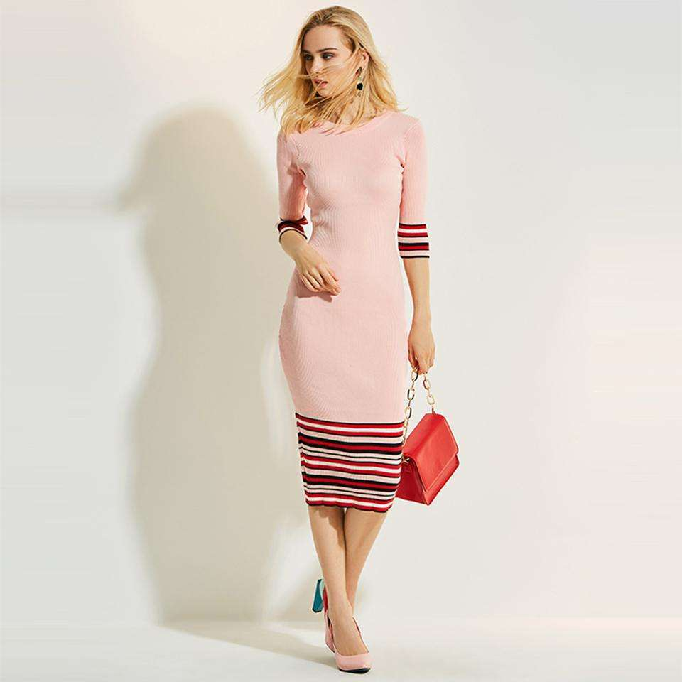 CLOCHE Stripe Bodycon Pullover Knitted Sweater Dress-CLOCHE-CLOCHE