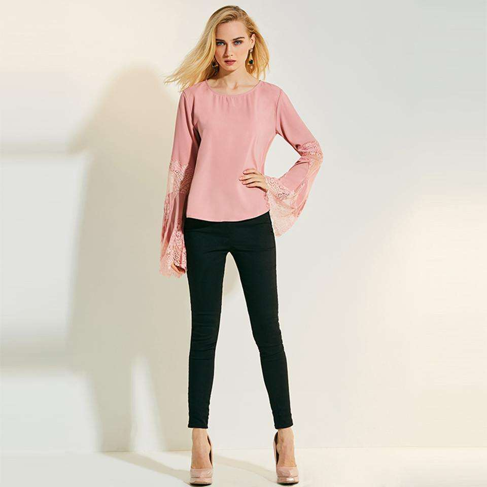 CLOCHE Slim O-Neck Flare Sleeve Sweet Style Lace Blouse-CLOCHE-Pink-M-CLOCHE
