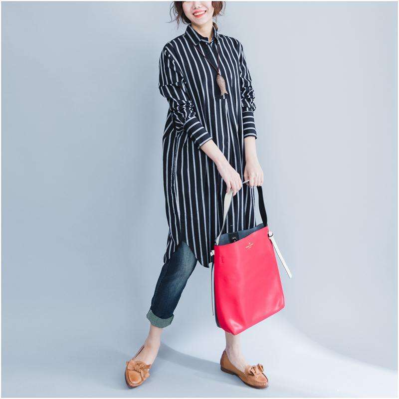 CLOCHE Striped Turn-down Collar Button Shirt Dress-CLOCHE-CLOCHE