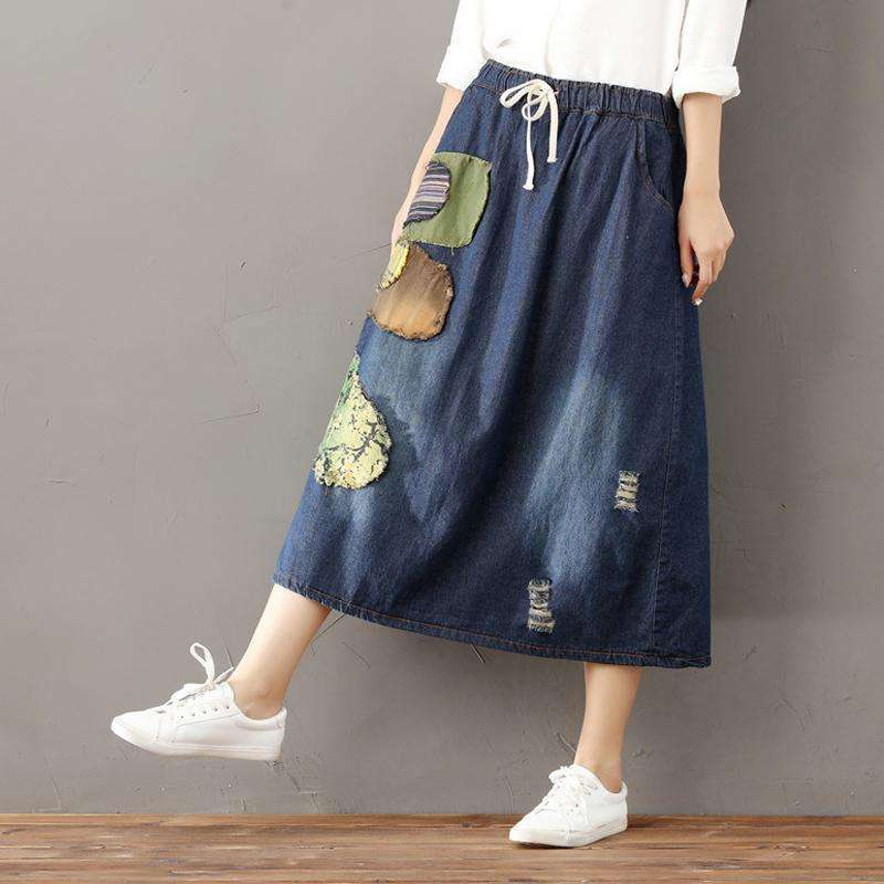 CLOCHE Cotton Denim Print Belt A-Line Vintage Skirt-CLOCHE-CLOCHE