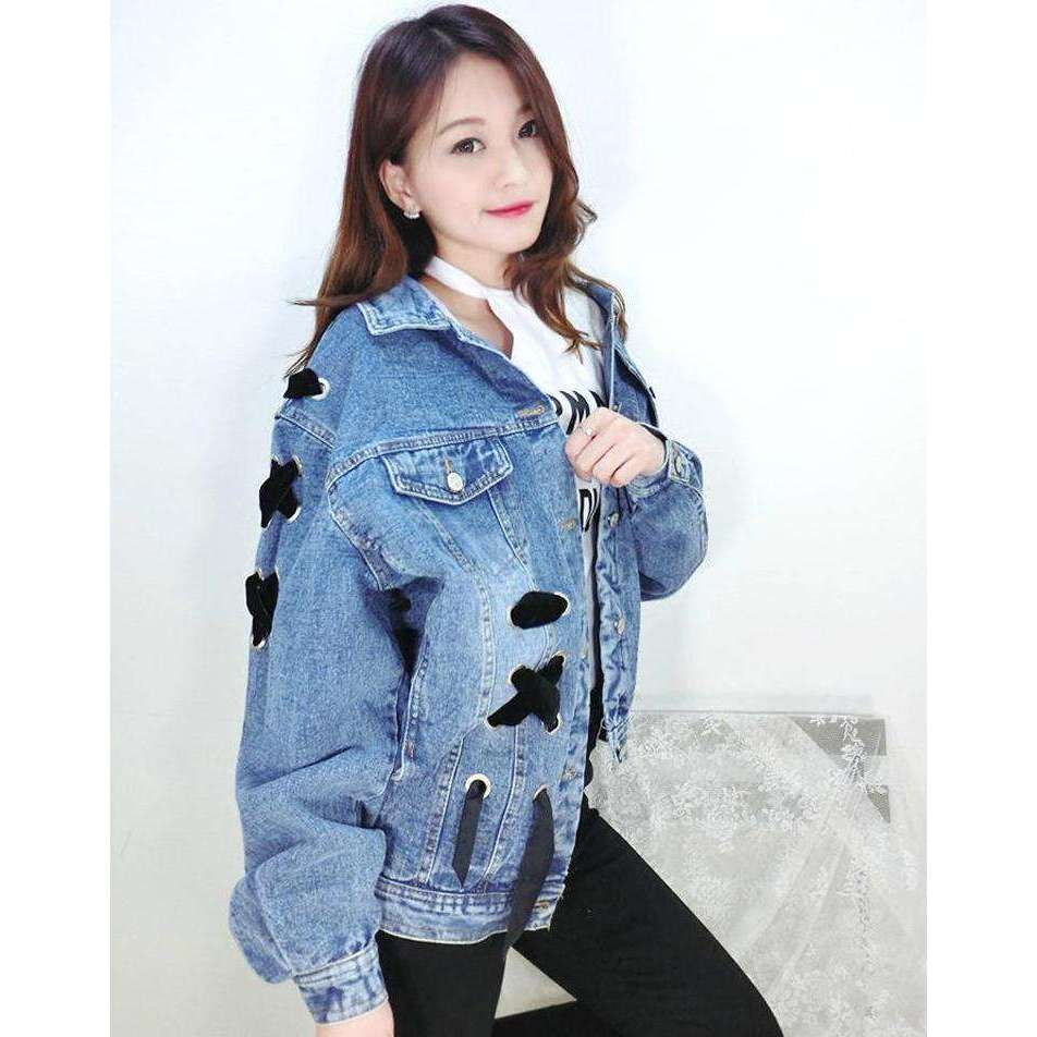 CLOCHE Cross Bandage Bow Denim Jacket Coats-CLOCHE-ONE-CLOCHE