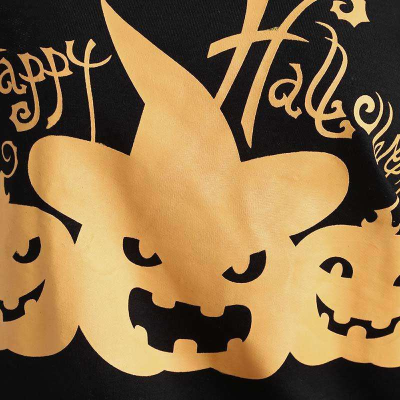 CLOCHE Happy Halloween Pumpkin Print One Shoulder Sweatshirt Pullover-CLOCHE-CLOCHE