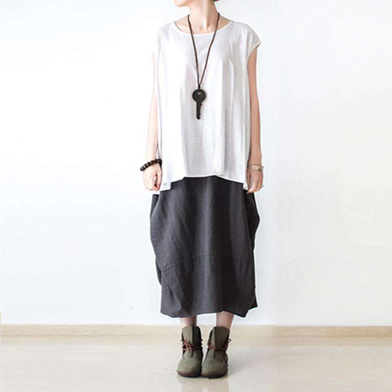 CLOCHE Cotton Linen Irregular Fold Skirt-CLOCHE-CLOCHE