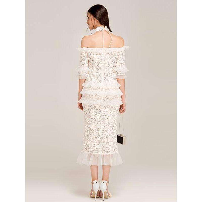 CLOCHE Ruffles Designer Sheath Lace Dress-CLOCHE-CLOCHE
