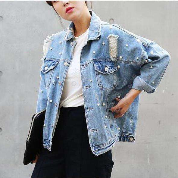 CLOCHE Pearl Beading Ripped Denim Jacket-CLOCHE-LIGTH BLUE-S-CLOCHE