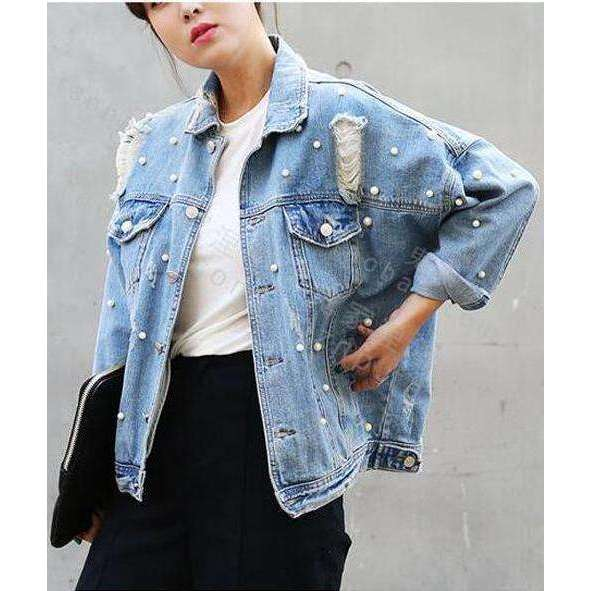 CLOCHE Pearl Ripped Denim Jacket Coats-CLOCHE-Blue-S-CLOCHE