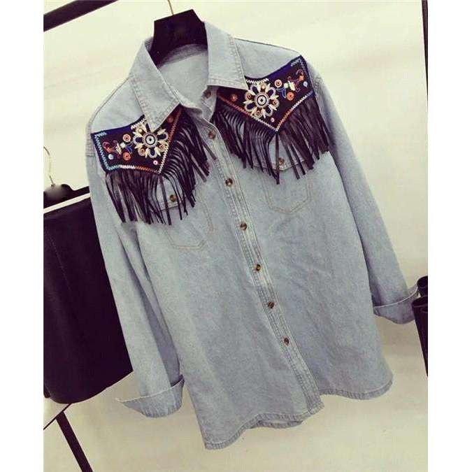 CLOCHE Embroidery Tassel Denim Shirt Top-CLOCHE-CLOCHE