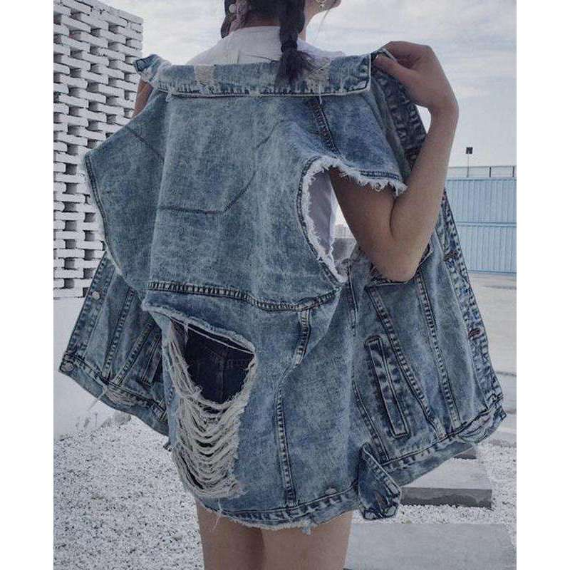 CLOCHE Vest Coat Ripped Hole Denim Jacket-CLOCHE-CLOCHE