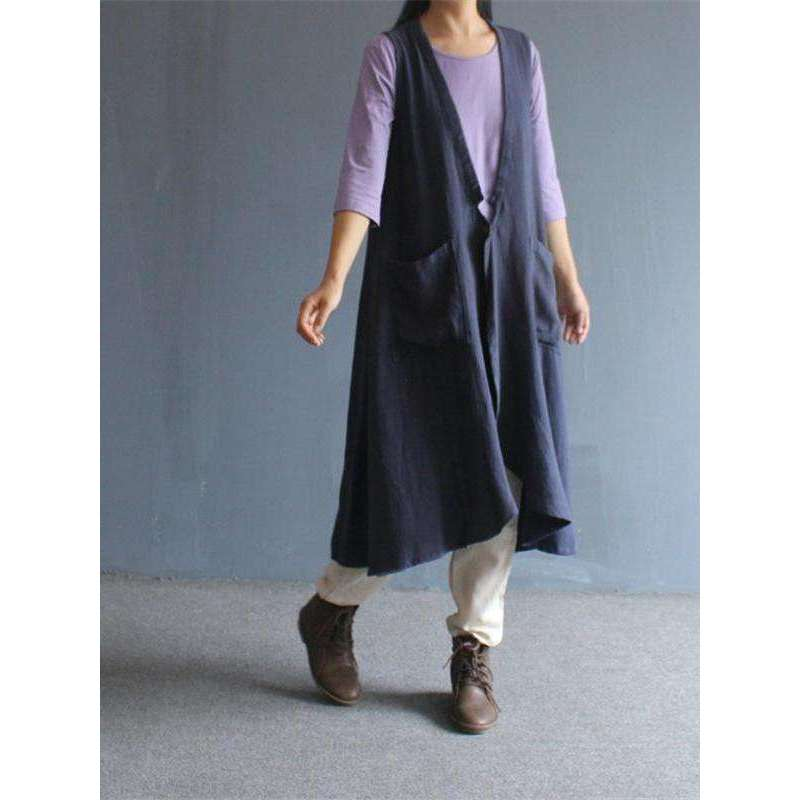 CLOCHE Cotton Linen Pockets Vintage V-Neck Long Vests-CLOCHE-CLOCHE