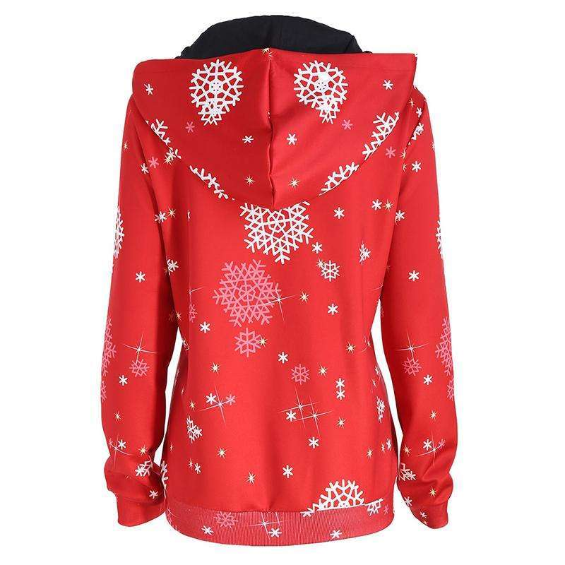 CLOCHE Christmas Santa Claus Snowflake Hooded Pullover Jumper-CLOCHE-CLOCHE