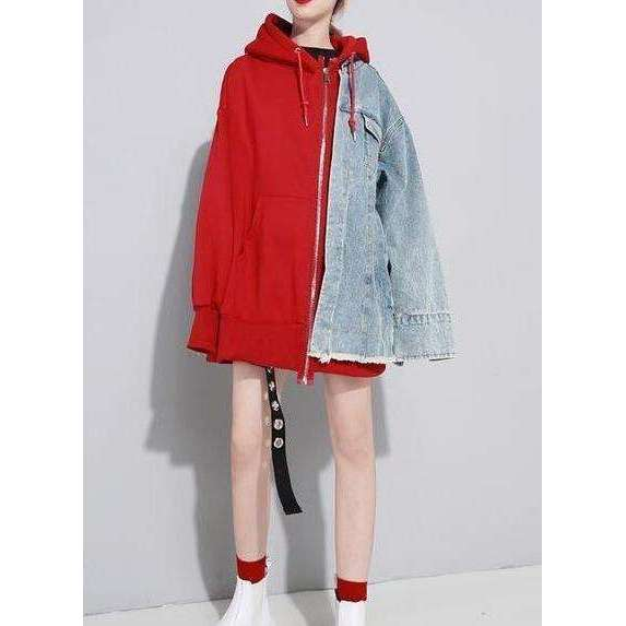 CLOCHE Hooded Patchwork Denim Jacket-CLOCHE-CLOCHE