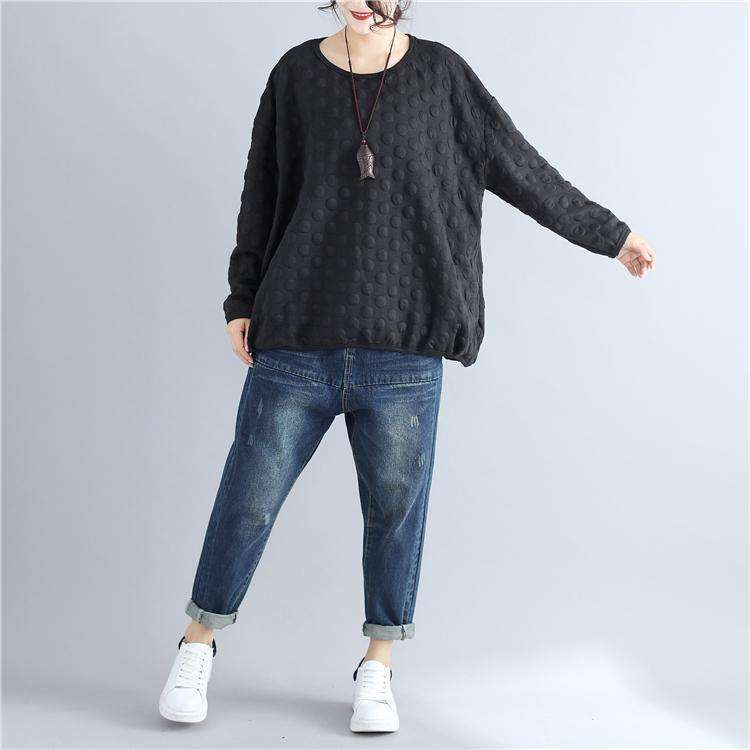 CLOCHE O-Neck Long Sleeve Polka Dot Sweatshirt-CLOCHE-ONE-CLOCHE