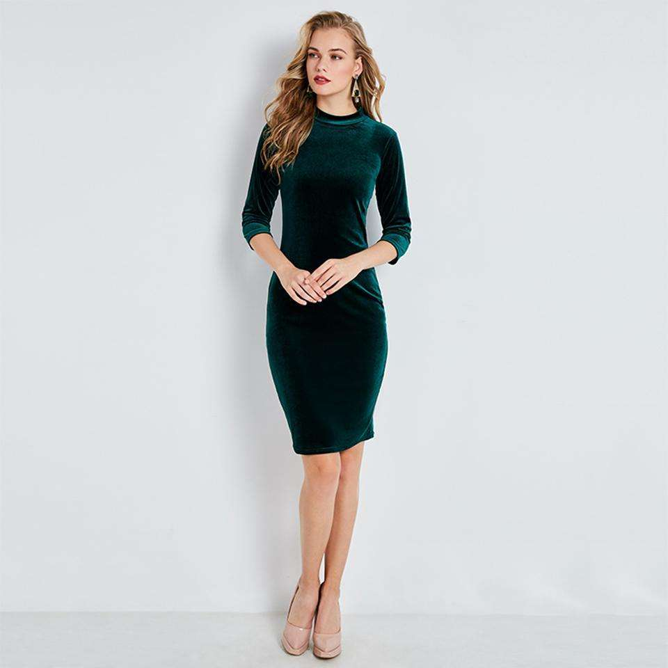 CLOCHE Bodycon Pleuche Hunter Sweater Dress-CLOCHE-CLOCHE