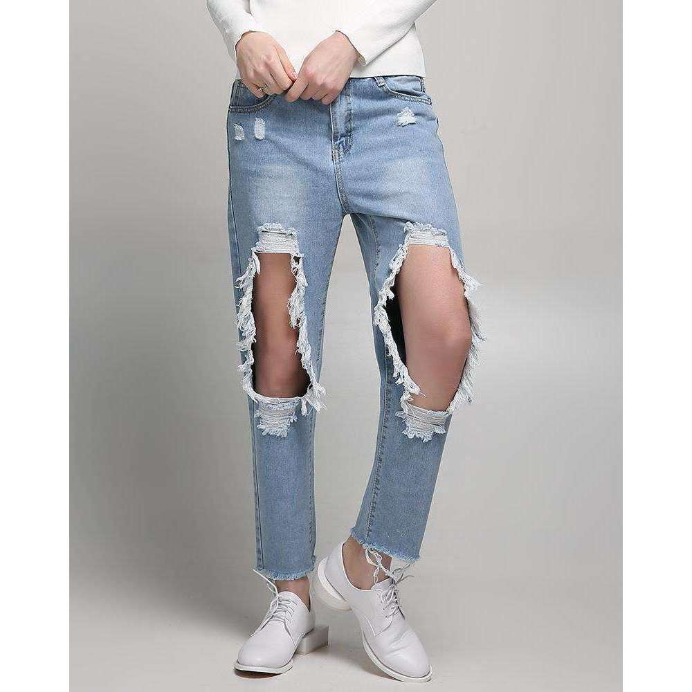 CLOCHE Ripped Torn Denim Trousers Jeans-CLOCHE-CLOCHE