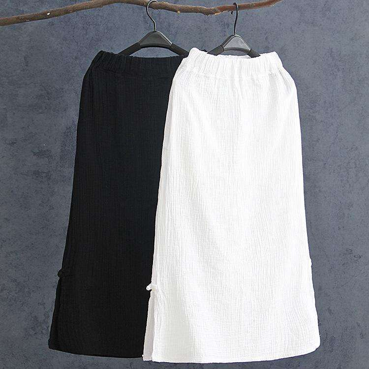 CLOCHE Cotton Linen Breathable Comfortable A-Line Skirt-CLOCHE-CLOCHE