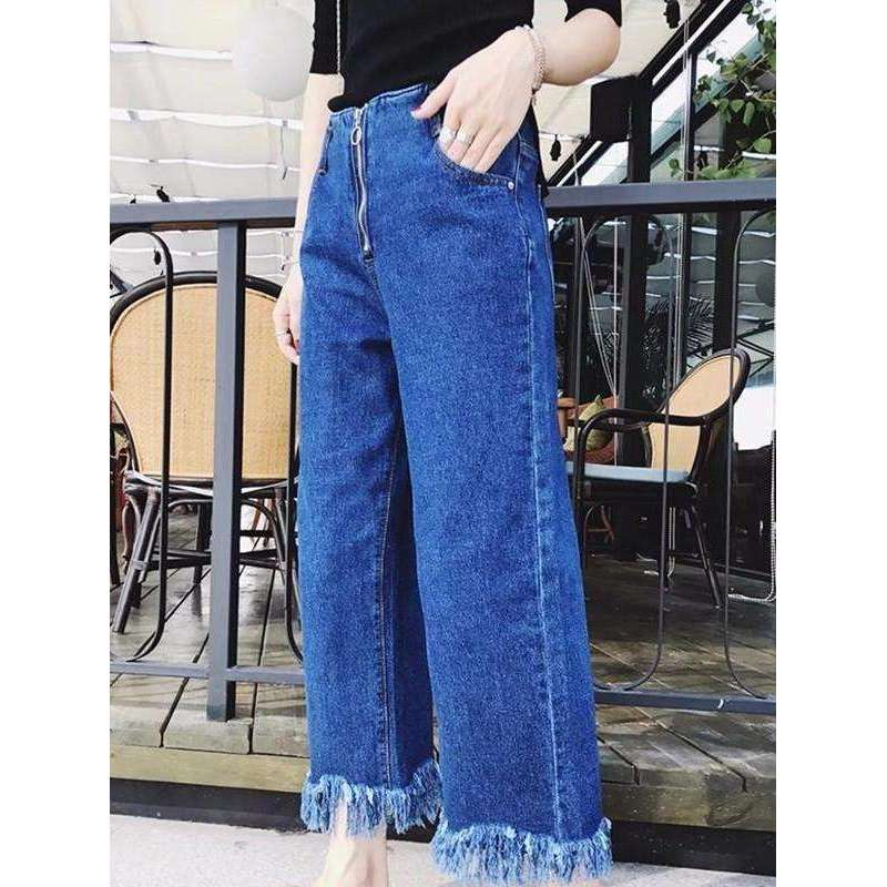 CLOCHE Denim Wide Leg Jeans Pants-CLOCHE-CLOCHE