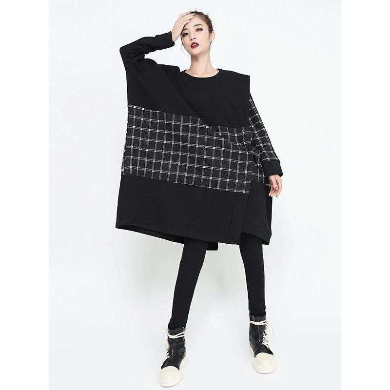 CLOCHE Velvet Patchwork Plaid Knitted Dress-CLOCHE-ONE-CLOCHE