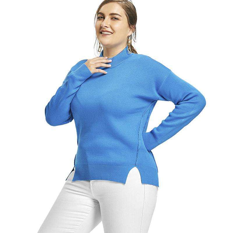 CLOCHE Drop Shoulder Knitted Pullover Turtleneck Jumper-CLOCHE-CLOCHE