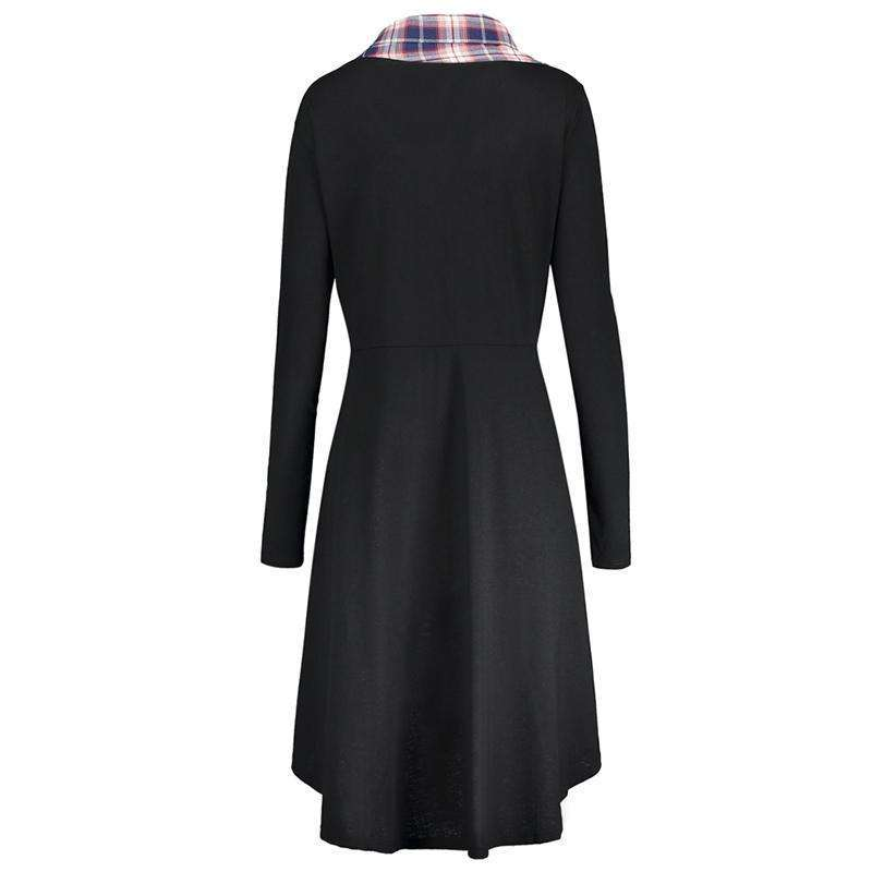 CLOCHE Plaid Insert High Low Sweatshirt Dress-CLOCHE-CLOCHE