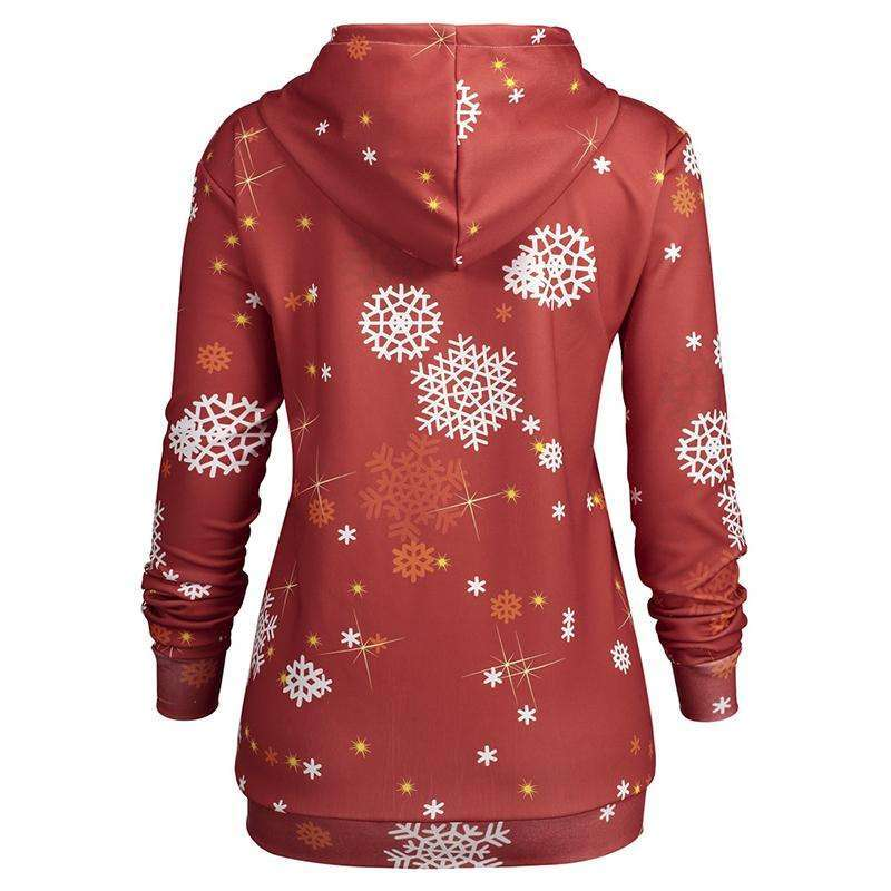 CLOCHE Christmas Deer Kangaroo Print Hooded Tracksuit Pullover Jumper-CLOCHE-CLOCHE
