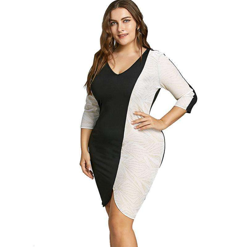 CLOCHE Sexy Two Tone Sequin Bodycon Work Wear Office Dress-CLOCHE-CLOCHE