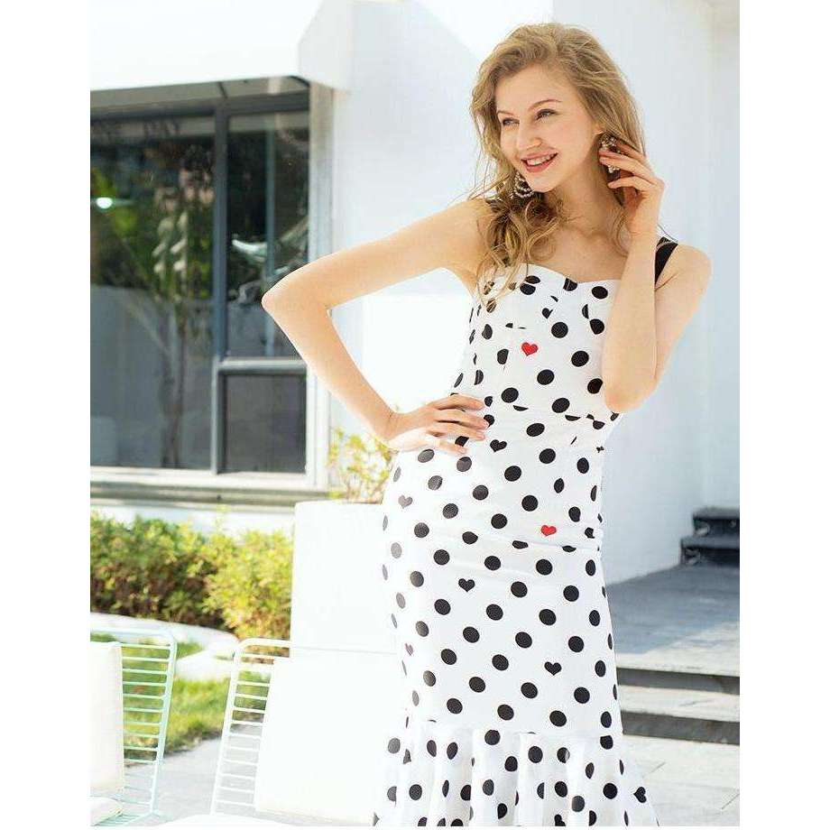 CLOCHE Polka Fishtail Designer Spaghetti Dress-CLOCHE-CLOCHE
