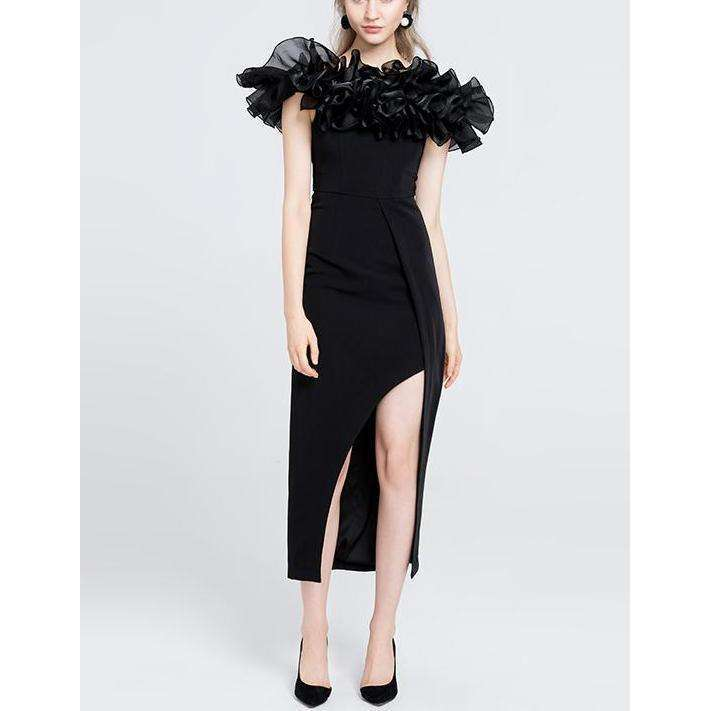 CLOCHE Red Carpet Split Party Dress-CLOCHE-CLOCHE