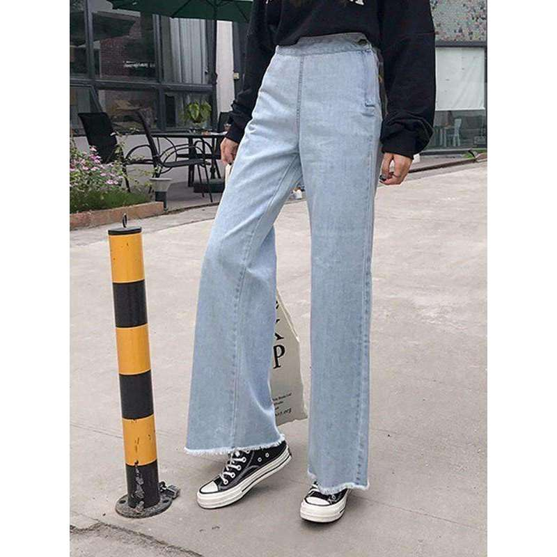 CLOCHE Denim Jeans Wide Leg Pants Loose Jeans With High Waist Pants-CLOCHE-CLOCHE