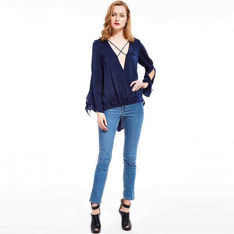 CLOCHE V-Neck Loose Vacation Sexy Satin Blouse-CLOCHE-CLOCHE