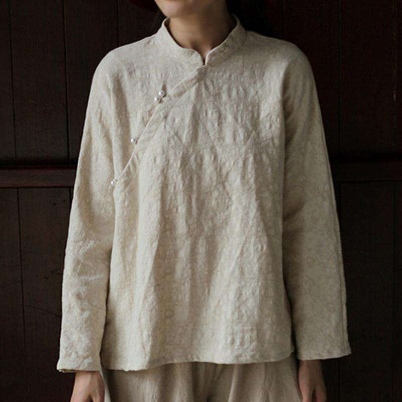 CLOCHE Chinese Style Cotton Jacquard Top Shirt Blouse-CLOCHE-ONE-CLOCHE