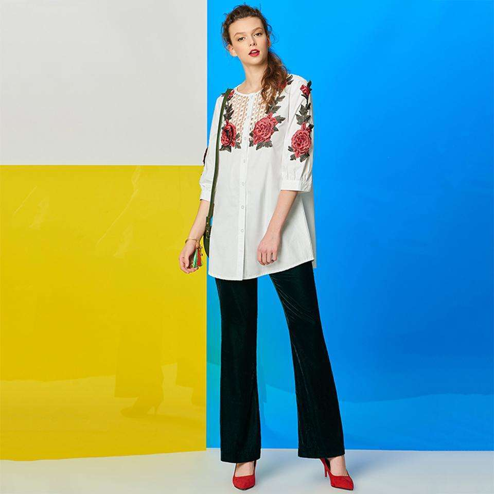 CLOCHE Mid-Length Single-Breasted Embroidery Hollow Loose Blouse-CLOCHE-CLOCHE