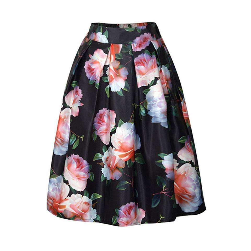 CLOCHE Floral Color Block Print Ball Gown Knee-Length Skirt-CLOCHE-CLOCHE
