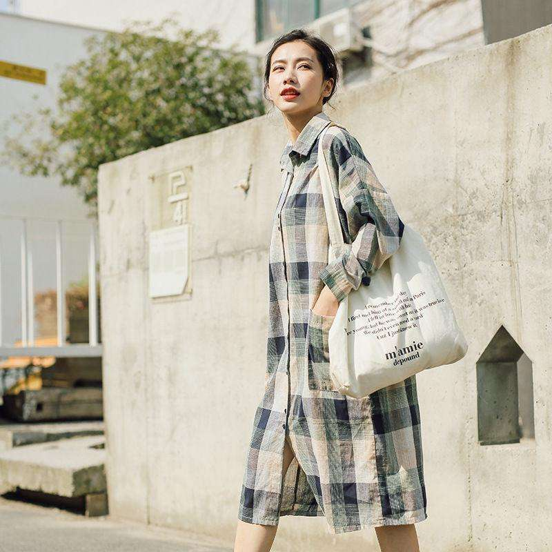 CLOCHE Plaid Cotton Linen Turn-down Collar Shirt Dress-CLOCHE-CLOCHE