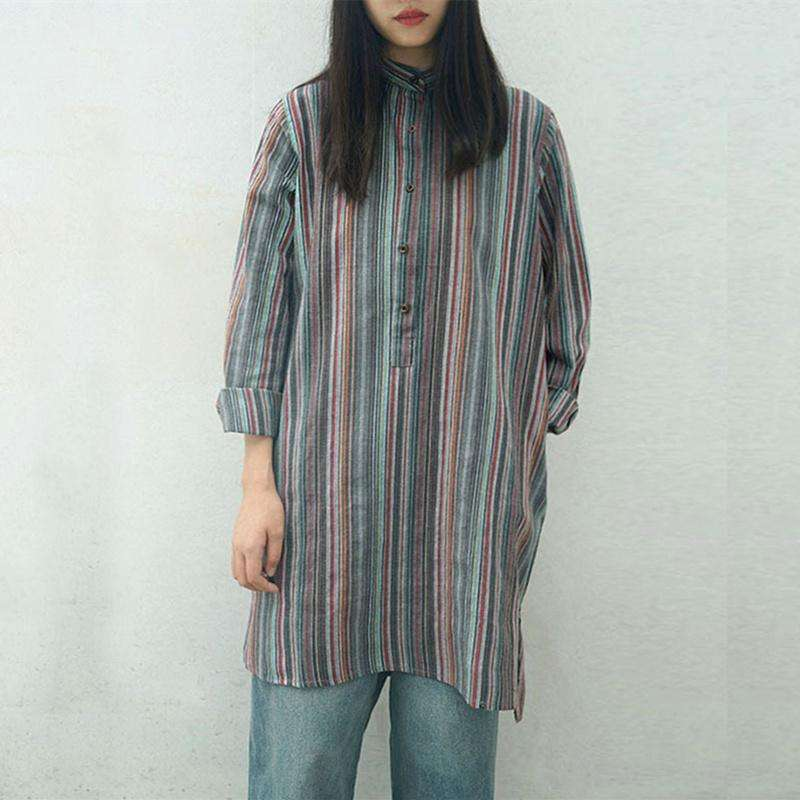 CLOCHE Striped Cotton Linen Stand Collar Shirt Dress-CLOCHE-CLOCHE