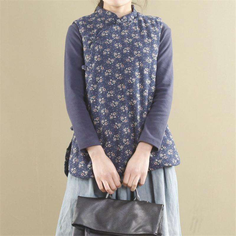 CLOCHE Chinese Style Print Floral Cotton Cardigan Vests-CLOCHE-CLOCHE