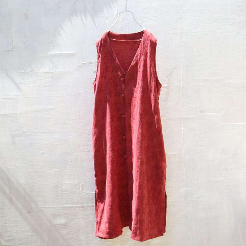 CLOCHE Chinese Style Cotton Linen V-Neck Vests-CLOCHE-CLOCHE