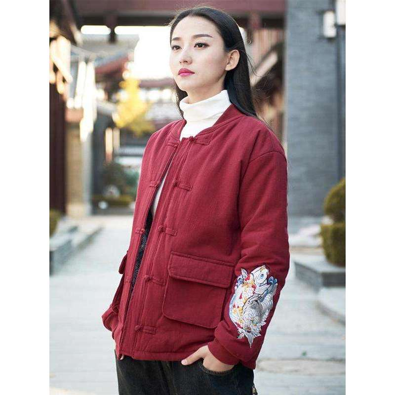 CLOCHE Embroidery Button Chinese Style Cotton Linen Jacket-CLOCHE-CLOCHE