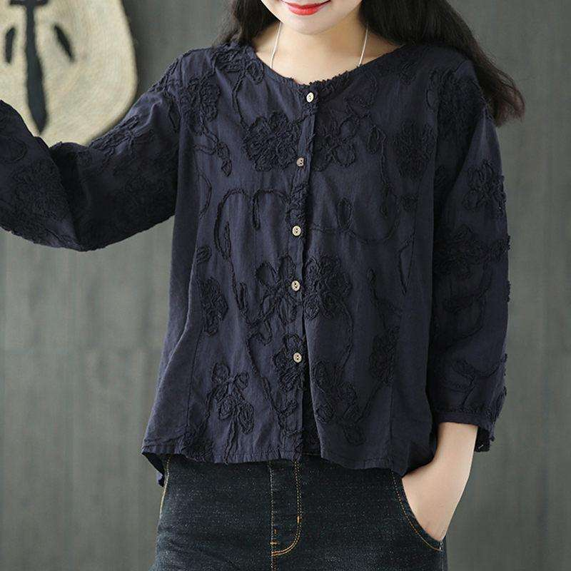 CLOCHE Embroidery Vintage O-Neck Patchwork Shirt-CLOCHE-CLOCHE