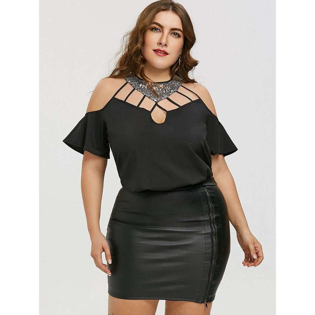 CLOCHE Sequin Halter Cut Out Sexy Off the Shoulder Blouse-CLOCHE-CLOCHE