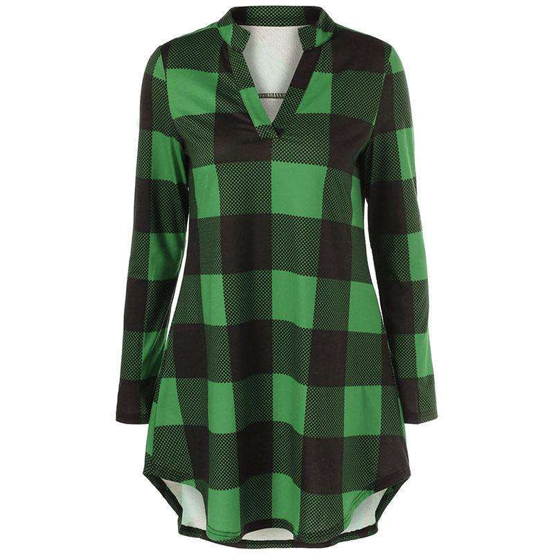 CLOCHE Split Neck Long Plaid Boyfriend Checked T-Shirt-CLOCHE-CLOCHE