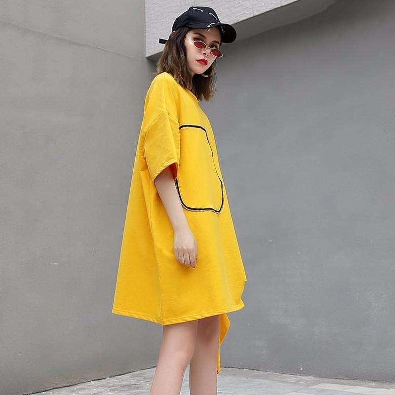 CLOCHE Hem Tear Three Quarter Sleeve Pullover Top Blouse-CLOCHE-yellow-One Size-CLOCHE
