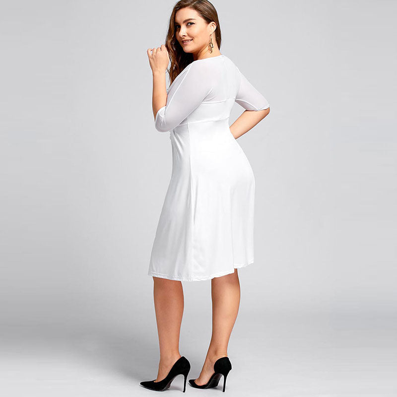 CLOCHE Plus Size A-Line V-Neck Dress