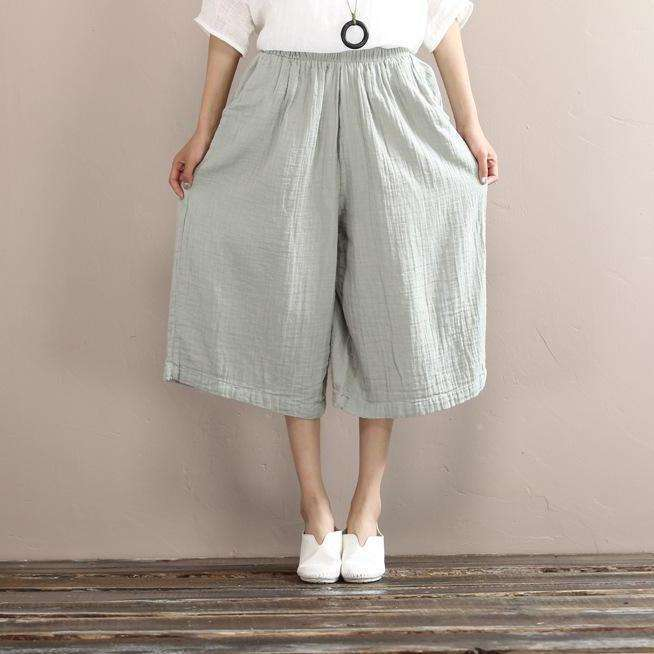 CLOCHE Double Cotton Linen Old Retro Short Pants-CLOCHE-CLOCHE