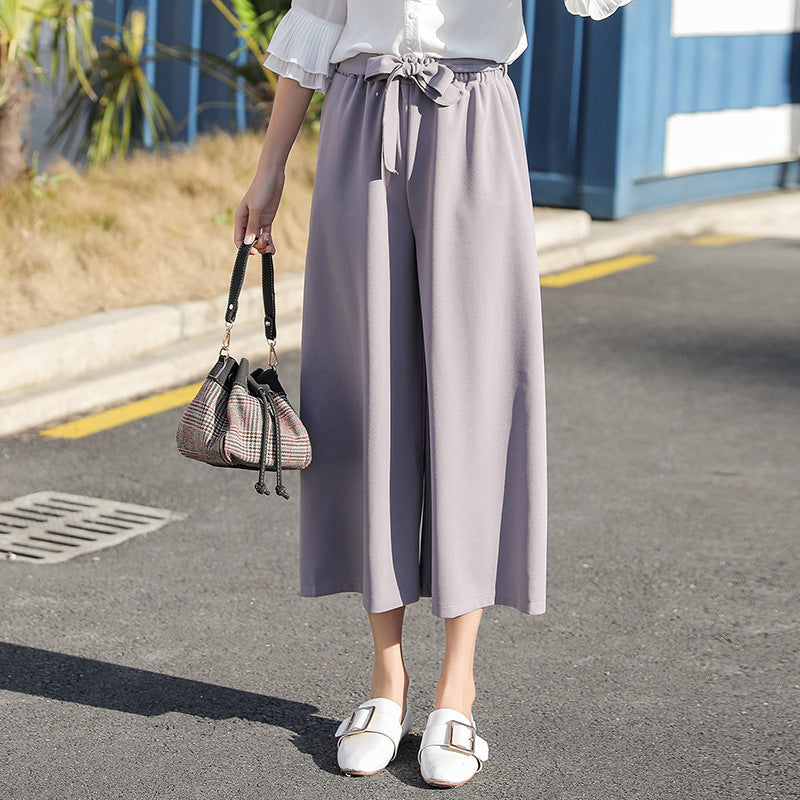 CLOCHE Elegant Bow Tie Loose Casual Lace Up Pants